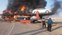 آتش-سوزی-تریلی-خودروهای-وارداتی-در-گمرک-بندرعباس